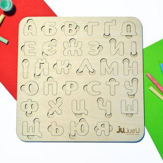 Деревянная рамка алфавит. Детская игрушка-вкладыш для изучения букв