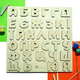 Большой деревянный алфавит с объемными буквами (украинский, русский, английский)