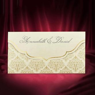 Золотистые приглашения на свадьбу (арт. 5515)