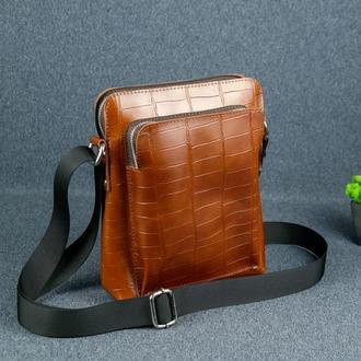 """Кожаная мужская сумка """"Модель №88"""", кожа с лицевым покрытием Пуллап, оттиск №2, цвет коньяк"""
