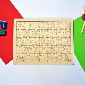 """Алфавит-пазл """"Друзья"""". Деревянная рамка вкладыш для изучения букв"""