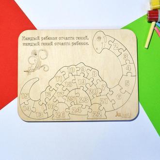 """Рамка-вкладыш """"Динозавр"""" для изучения цифр. Детский пазл из дерева"""