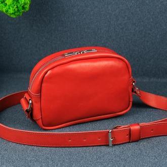 """Кожаная сумочка """"Виола"""" кожа итальянский краст, цвет красный"""