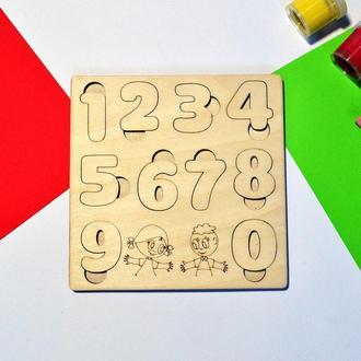 """Деревянный планшет с цифрами """"Арифметика до 10"""". Детские вкладыши."""