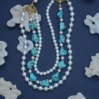 Багаторядне намисто з перлів, білої майорики і бірюзи