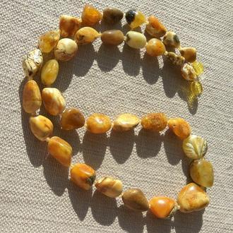Яркое янтарное пейзажное ожерелье, натуральный королевский янтарь