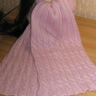 Шарф пастельно-розовый ручной работы