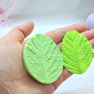 Молд лист гортензии(универсальный)для фоамиранаи и глины,Размер:5.5 см на 6.5 см,цв. зеленый,1 шт.
