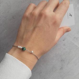 Красивый женский браслет с африканской бирюзой и жемчугом. Подарок браслет.