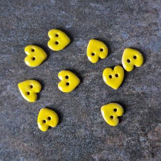 Керамічні ґудзики Серце жовті 17 мм