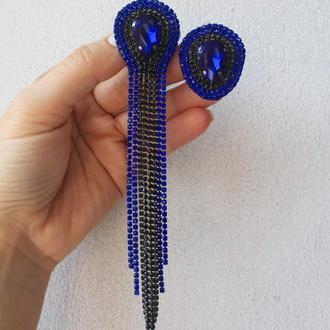 Синие Ассиметричные серьги