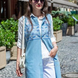 Блакитна безрукавка з вишивкою, довгий квітковий кардиган, бавовняний літній жилет