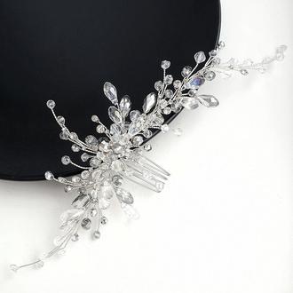 Свадебное украшение для волос, гребешок в прическу, украшение в прическу, прикраса у зачіску