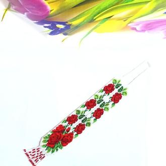 Гердан из бисера ′Розы′, эксклюзивное украшение, лучший подарок