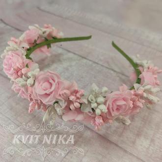 Веночек с розами. Свадебный венок для волос в розовых тонах. Венок из цветов для фотосессии