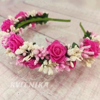 Веночек с розами. Венок из роз. Обруч для свадьбы. Венок на выпускной. Венок к вечернему платью