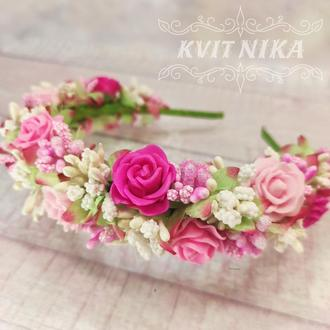 Веночек с розами. Свадебный венок для волос в розовых тонах. Венок из цветов для фотосессии.
