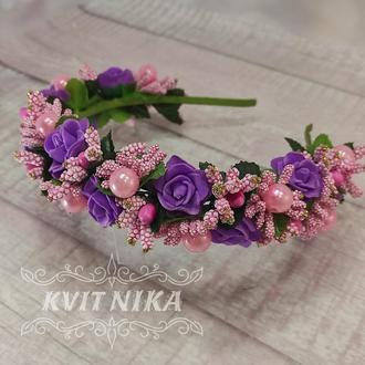 Веночек с розами. Венок для волос в розово-сиреневых тонах. Венок из цветов для фотосессии.