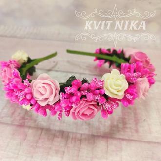 Веночек с розами. Венок для волос в розовых тонах. Венок из цветов для фотосессии.