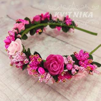 Веночек с розами. Ободок для волос в розовых тонах.Венок из цветов для фотосесси и на день рождение