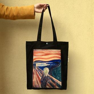 Арт шоппер Крик Мунк, черная эко сумка с принтом, искусство, сумка для покупок с карманом, арт торба