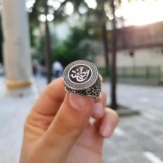 Круглая печатка серебряная перстень с арабскими символами ручной работы уникальная