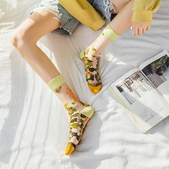 Прозрачные носки с растительным рисунком и солнышко в японском стиле