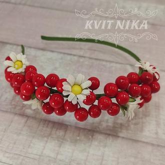Веночек из ягодок калины и ромашек. Красивое украшение к вышиванке. Украшение под вышиванку