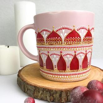 Чашка с росписью в подарок девушке, маме.