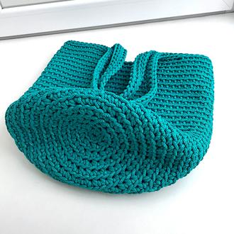Вязаная сумка-тоут цвета морской волны