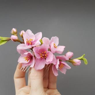 Гребень для волос с весенними цветами