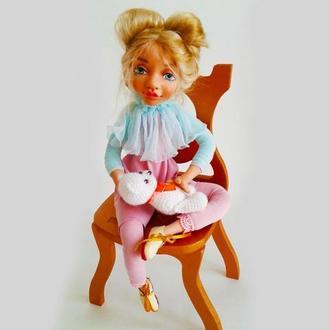 Сувенирная кукла. Интерьерная кукла. Кукла с голубыми глазами.
