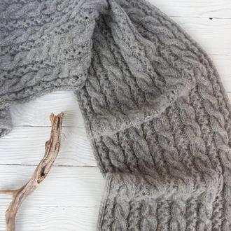 Вязаный шарф Серый альпака/золотой шнурок