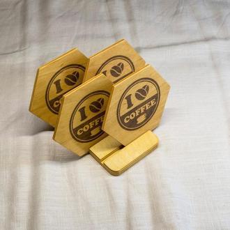 Экологичный набор из 4-х шестигранных подставок для чашки кофе