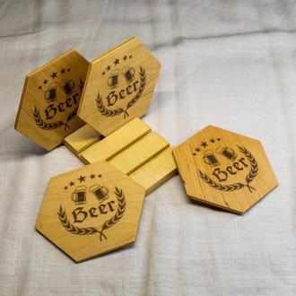 Экологичный набор из 4-х шестигранных подставок для бокалов пива