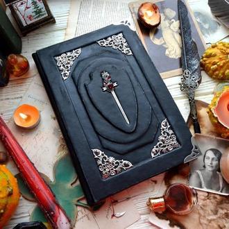 Кожаный блокнот, черный с мечом