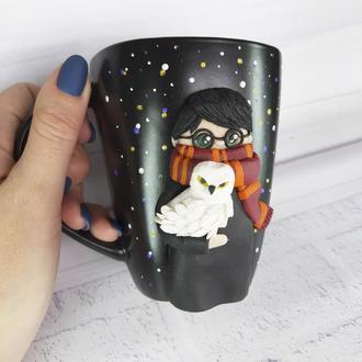 Чашка с декором из полимерной глины Гарри Поттер с Буклей  Кружка в подарок Harry Potter