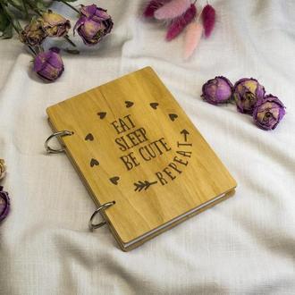 Экологичный деревянный блокнот Eat sleep be cute