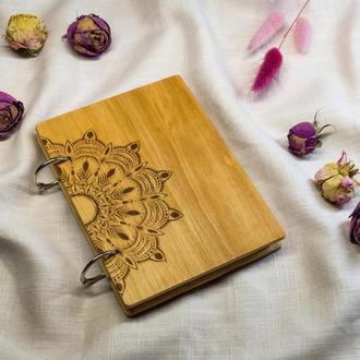 Экологичный деревянный блокнот Мандала