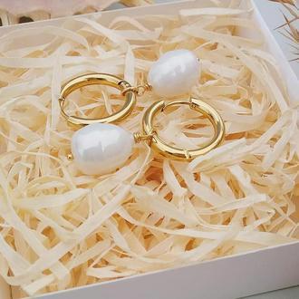 Сережки-кільця з перлинами майорка