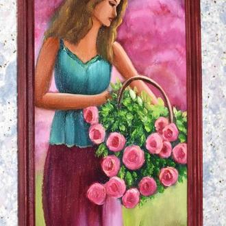 Дівчина з трояндами, живопис на полотні, розмір 20х40см