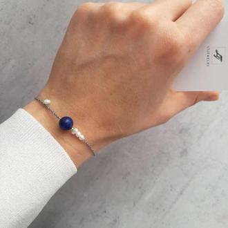 Красивый женский браслет лазурит и жемчуг на цепочке. Изящный браслет. Подарок браслет из камней.