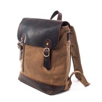 Рюкзак Scout. Кожа и вощеный канвас.Повседневный рюкзак. Рюкзак с кожаным клапаном. Стильный рюкзак.