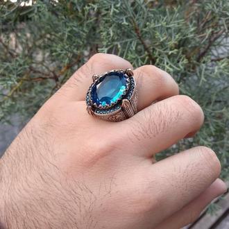 Большое кольцо мужской из благородного металла серебра ручной работы с синим камнем