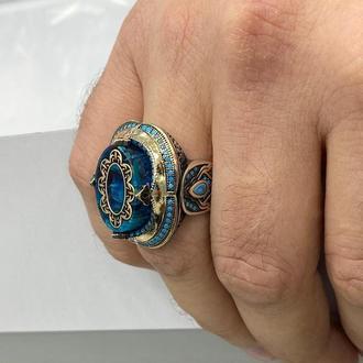 Купить серебряный перстень с синим камнем и гравировкой ручной работы мини камни бирюзы