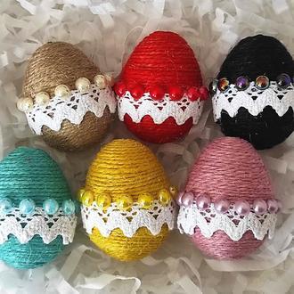 Набор из 6 пасхальных декоративных яиц. Подарок к Пасхе