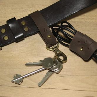 Комплект - шкіряний брелок на ремінь та органайзер для навушників