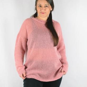 Свитер-туника из кид мохера розовый