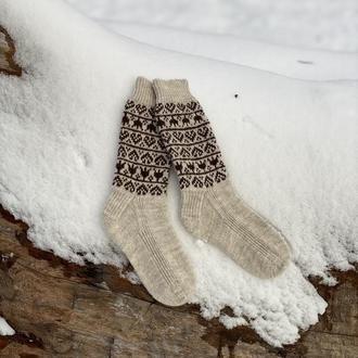 Шерстяные вязаные носки со скандинавским узором