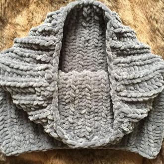 Снуд хомут шарф вязаный серый велюр новый теплый handmade